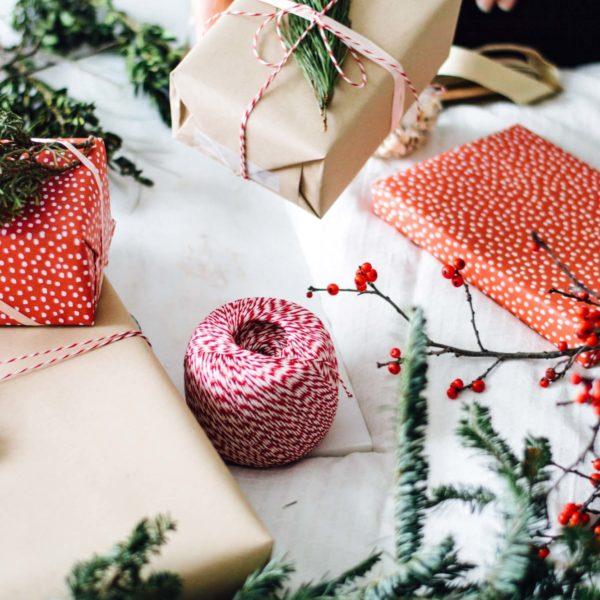 Holiday Gift Wrapping with Fresh Greenery