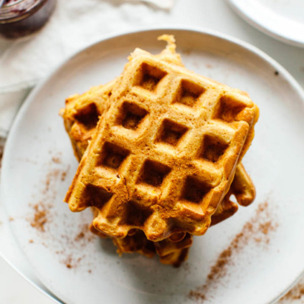 Roasted Butternut Squash Waffles with Balsamic Cranberry Sauce