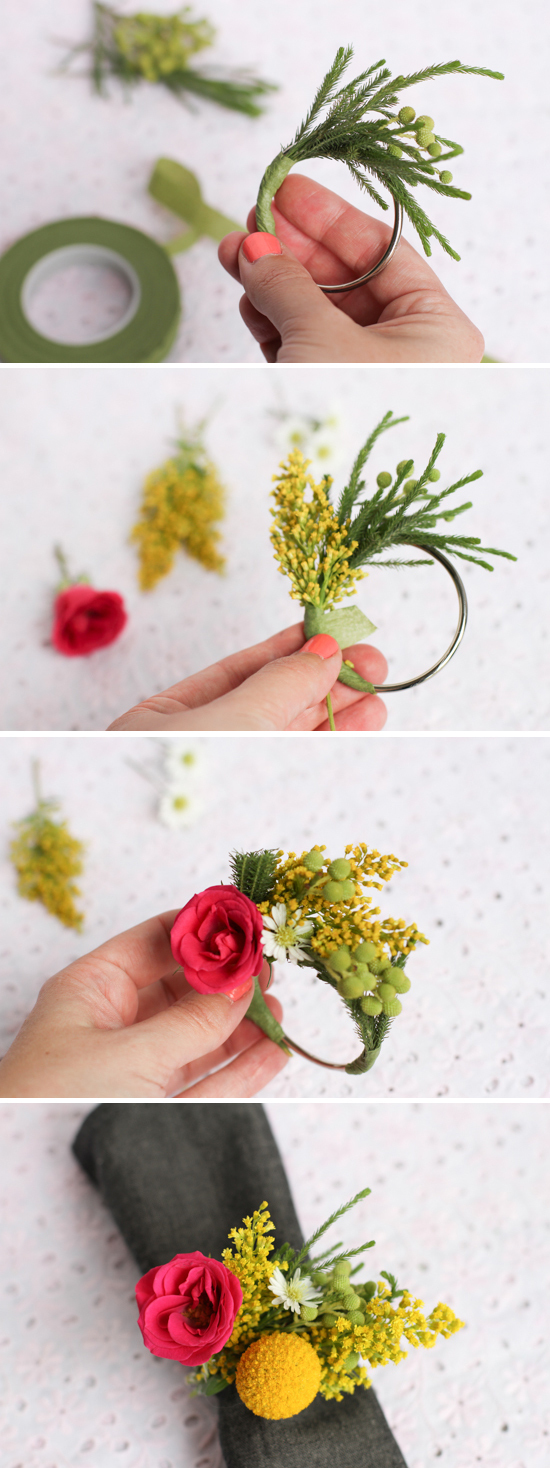 Diy fresh flower napkin rings alices table flowers izmirmasajfo